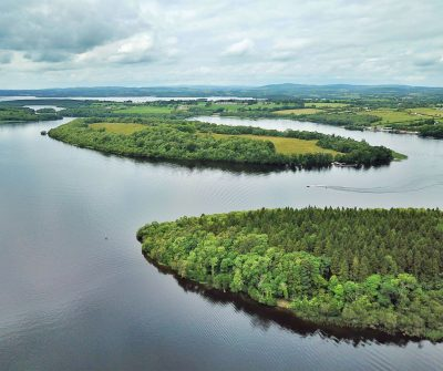 Aerial view looking over islands on Lough Erne near Enniskillen in Northern Ireland.