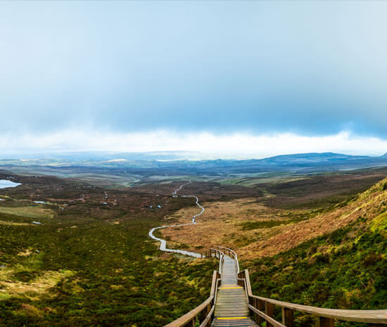 A view from the top of the Cuilcagh Boardwalk Trail near Enniskillen in County Fermanagh in Northern Ireland.