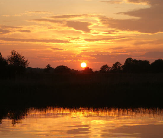 Orange sunset on the lake